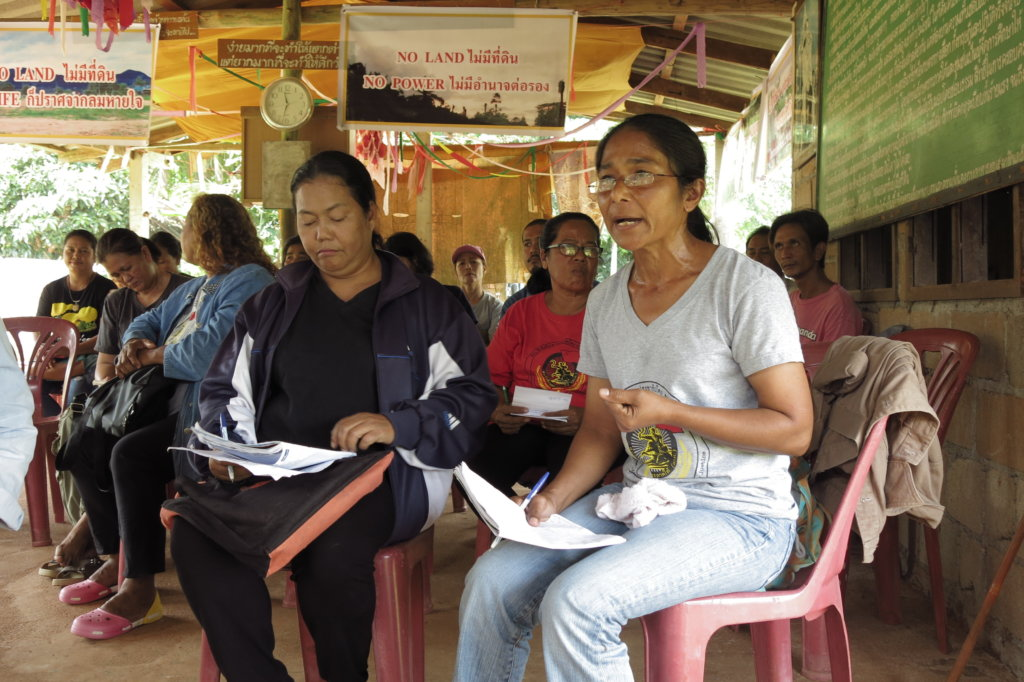 Women leaders of Southern Peasants Federation of Thailand discuss challenges facing women human rights defenders advocating for land rights at Farmers to Farmers Exchange Program in Surat Thani Province, Thailand ©Foritfy Rights 2017