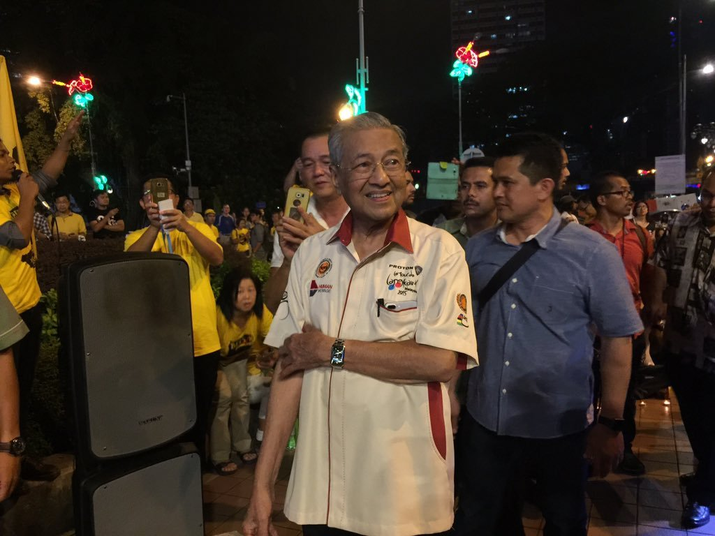 Tun Dr. Mahathir attending one of the candlelight vigils calling for the release of Maria Chin (then Chair of Bersih 2.0) who was detained under without trial under the Security Offences (Special Measures) Act 2012. (Nov 21, 2016)