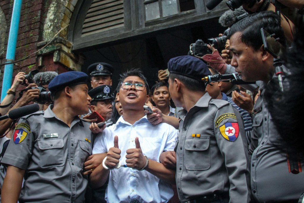 Wa Lone giving comments to journalists outside the Yangon Region Northern District Court before the court verdict convicting him to seven years in prison with hard labor. ©Mar Naw 2018