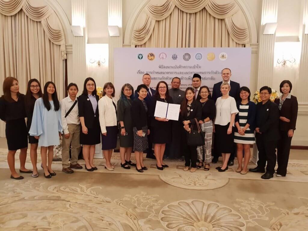 Representatives of civil society organizations working with refugee and migrant communities in Thailand who attended the MoU signing event in Bangkok.