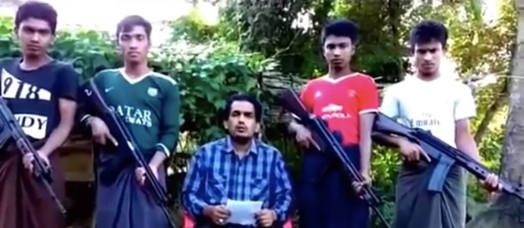 Screenshot of a video released by ARSA showing Attah Ullah, head of the group, 2017.