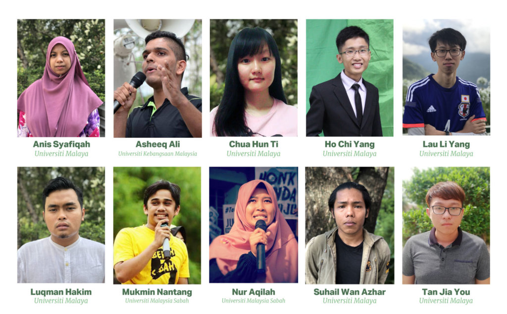 Student activists in Malaysia, profiled in the report, who  faced violations of their rights to freedom of expression, peaceful assembly, and association. ©Private, 2018