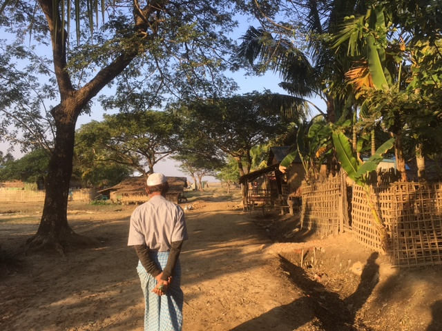 A Rohingya man walks a path on the outskirts of his village in Sittwe Township, Rakhine State. The government restricts Rohingya access to education, livelihoods, and freedom of movement, stemming from the denial of citizenship rights. ©Fortify Rights, 2019