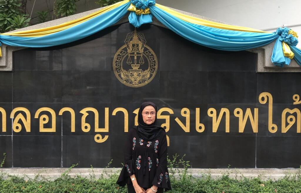 Angkhana Neelapaijit in front of the Bangkok South Criminal Court. ©Private, 2020