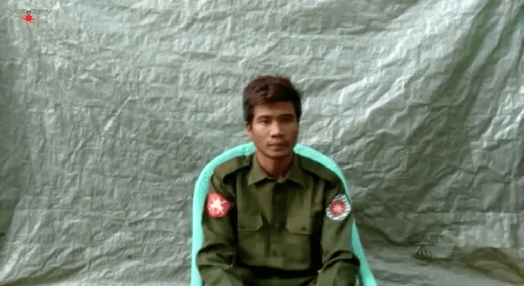 "Private Zaw Naing Tun, 30, of Myanmar LIB 353, confesses to killings, burying bodies in mass graves, and other crimes against Rohingya Muslims in five villages in Maungdaw Township during the 2017 ""clearance operations."" ©Arakan Army, July 8, 2020"