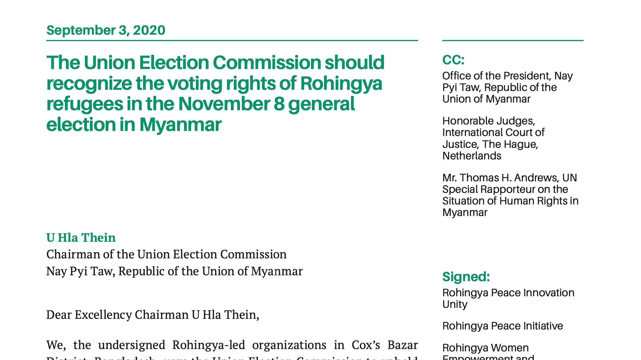 Refugees Organize for the Right to Vote in Myanmar