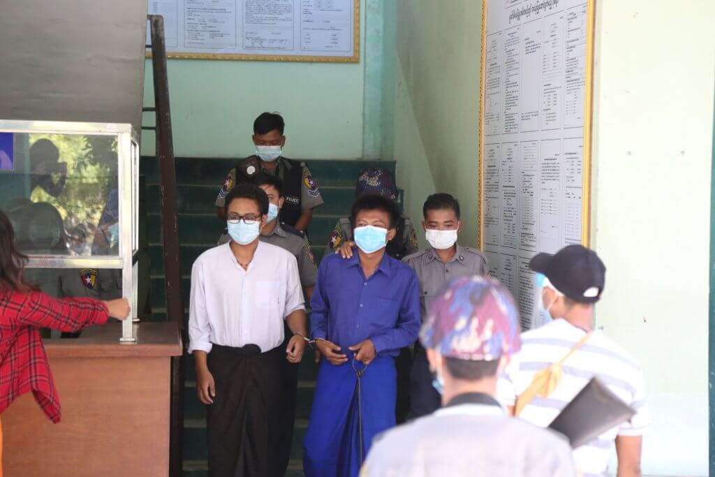 ABFSUYandabon Universitychapter memberMyo Chit Zaw, dressed in blue, appears before the Chan Aye Thar-zan Township Court on October 9 to face chargesunder section 505(b) of the Myanmar Criminal Code.©Kaung Zaw Hein, 2020